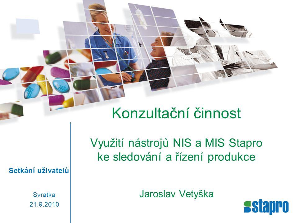 Konzultační činnost Využití nástrojů NIS a MIS Stapro ke sledování a řízení produkce Jaroslav Vetyška Setkání uživatelů Svratka 21.9.2010