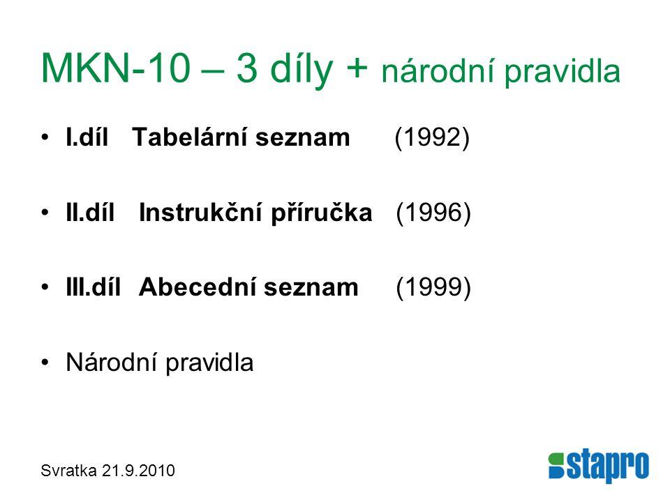 Svratka 21.9.2010 MKN-10 – 3 díly + národní pravidla I.díl Tabelární seznam (1992) II.díl Instrukční příručka (1996) III.díl Abecední seznam (1999) Ná