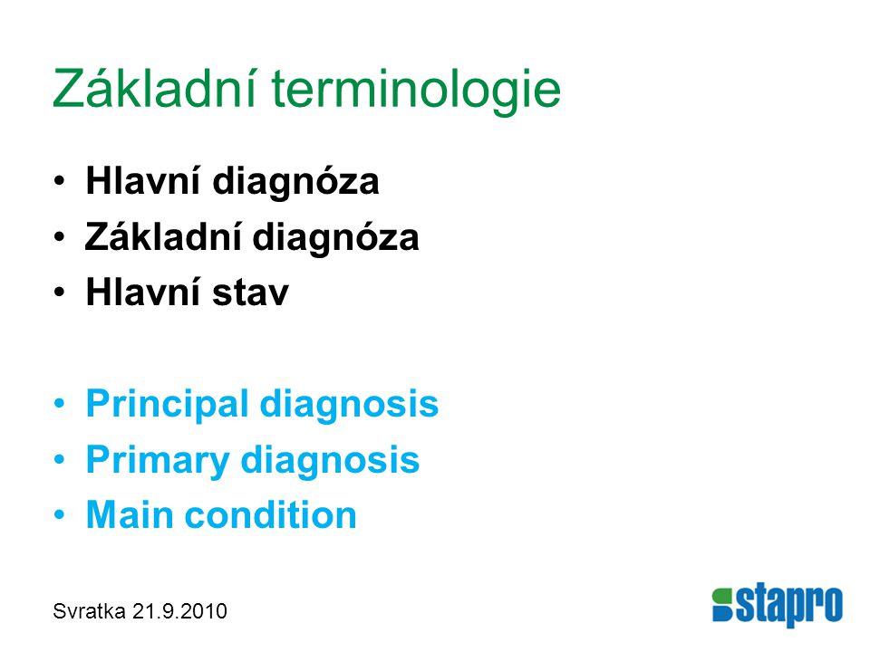 Svratka 21.9.2010 Základní terminologie Hlavní diagnóza Základní diagnóza Hlavní stav Principal diagnosis Primary diagnosis Main condition