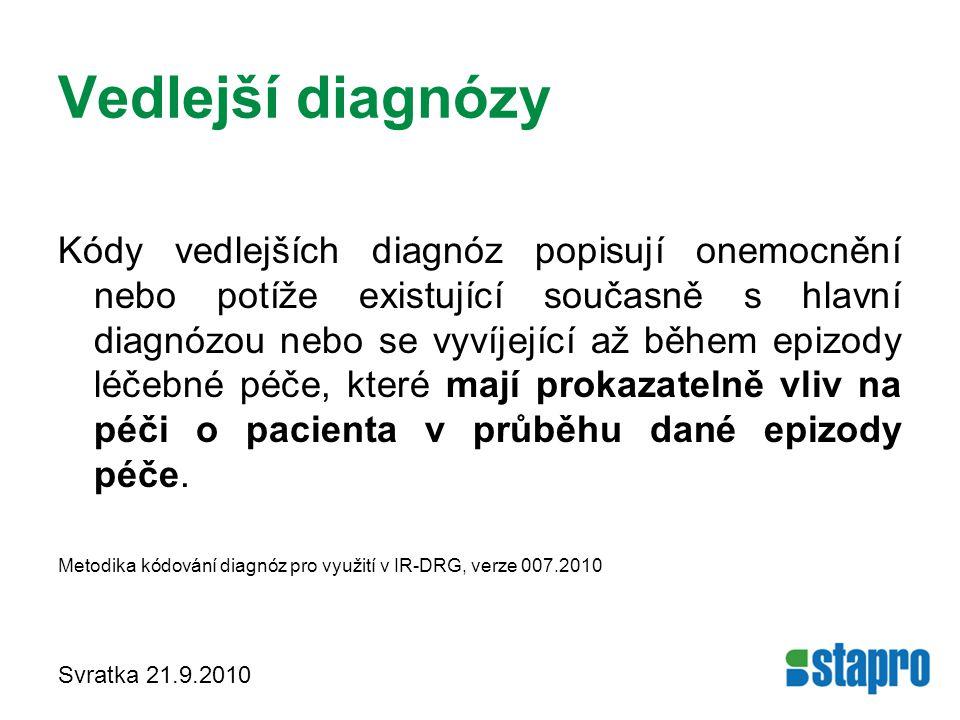 Vedlejší diagnózy Kódy vedlejších diagnóz popisují onemocnění nebo potíže existující současně s hlavní diagnózou nebo se vyvíjející až během epizody l