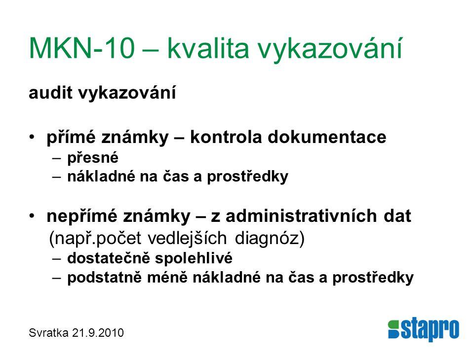 MKN-10 – kvalita vykazování audit vykazování přímé známky – kontrola dokumentace –přesné –nákladné na čas a prostředky nepřímé známky – z administrati