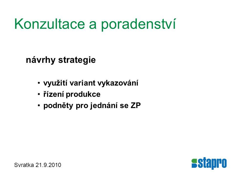 Svratka 21.9.2010 Konzultace a poradenství návrhy strategie využití variant vykazování řízení produkce podněty pro jednání se ZP
