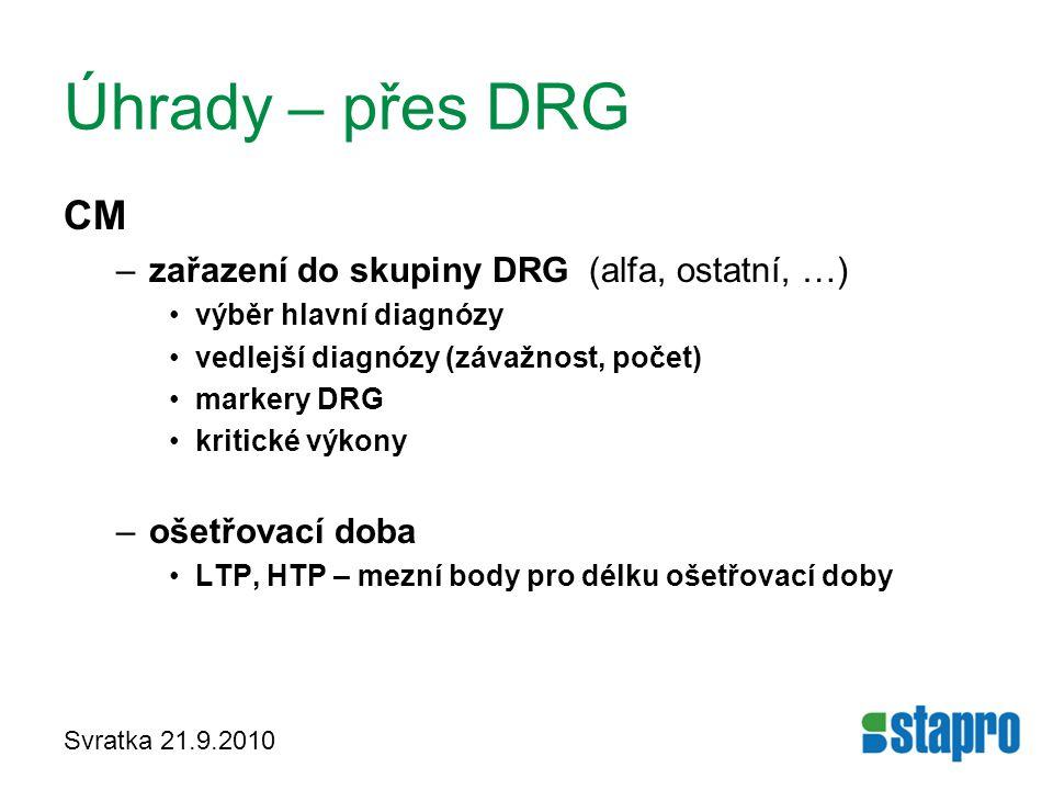 Svratka 21.9.2010 Úhrady – přes DRG CM –zařazení do skupiny DRG (alfa, ostatní, …) výběr hlavní diagnózy vedlejší diagnózy (závažnost, počet) markery