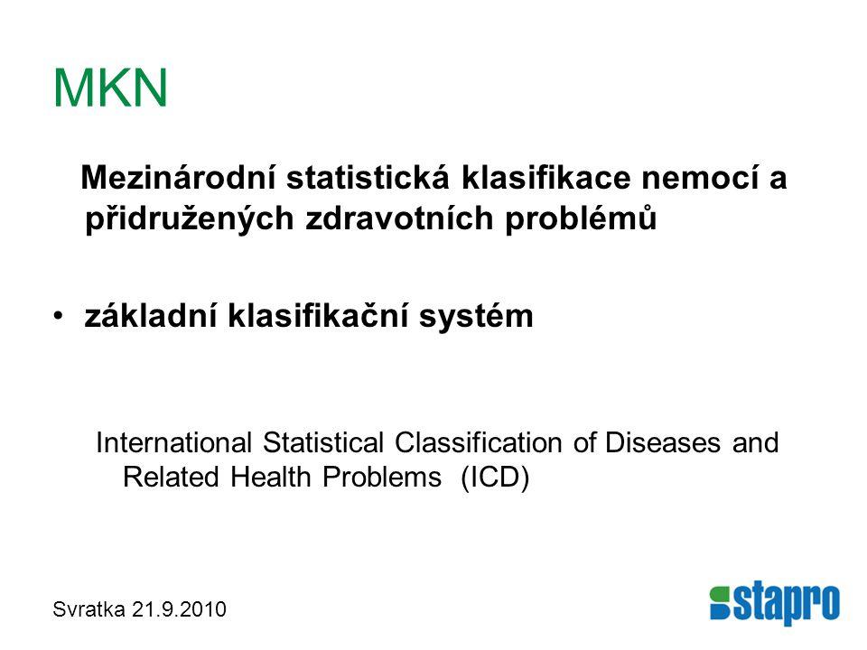 Svratka 21.9.2010 MKN Mezinárodní statistická klasifikace nemocí a přidružených zdravotních problémů základní klasifikační systém International Statis