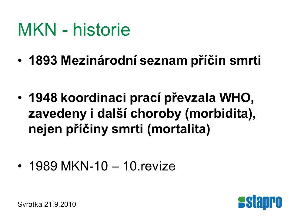 Svratka 21.9.2010 MKN - historie 1893 Mezinárodní seznam příčin smrti 1948 koordinaci prací převzala WHO, zavedeny i další choroby (morbidita), nejen