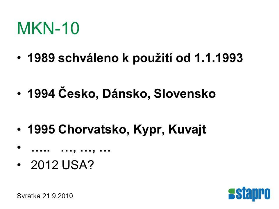 Svratka 21.9.2010 MKN-10 1989 schváleno k použití od 1.1.1993 1994 Česko, Dánsko, Slovensko 1995 Chorvatsko, Kypr, Kuvajt ….. …, …, … 2012 USA?