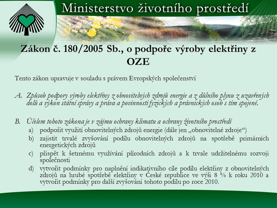 Zákon č. 180/2005 Sb., o podpoře výroby elektřiny z OZE Tento zákon upravuje v souladu s právem Evropských společenství A.Způsob podpory výroby elektř