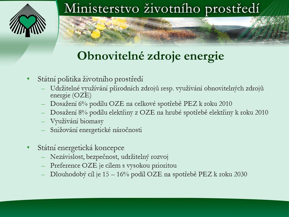 Obnovitelné zdroje energie Státní politika životního prostředí –Udržitelné využívání přírodních zdrojů resp. využívání obnovitelných zdrojů energie (O