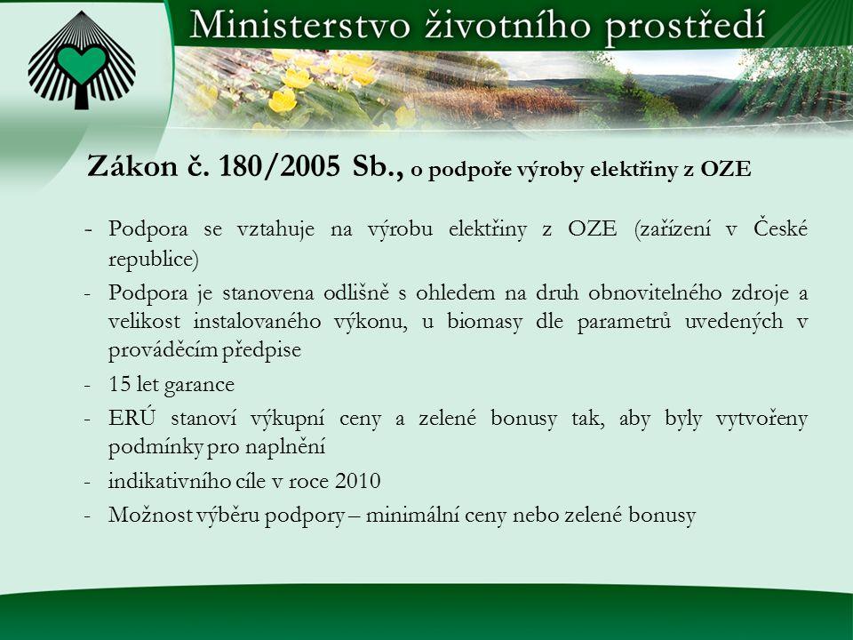 Zákon č. 180/2005 Sb., o podpoře výroby elektřiny z OZE - Podpora se vztahuje na výrobu elektřiny z OZE (zařízení v České republice) -Podpora je stano