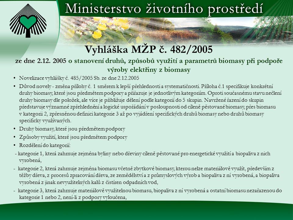 Vyhláška MŽP č. 482/2005 ze dne 2.12. 2005 o stanovení druhů, způsobů využití a parametrů biomasy při podpoře výroby elektřiny z biomasy Novelizace vy