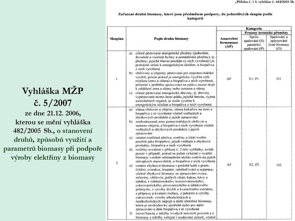 Vyhláška MŽP č. 5/2007 ze dne 21.12. 2006, kterou se mění vyhláška 482/2005 Sb., o stanovení druhů, způsobů využití a parametrů biomasy při podpoře vý