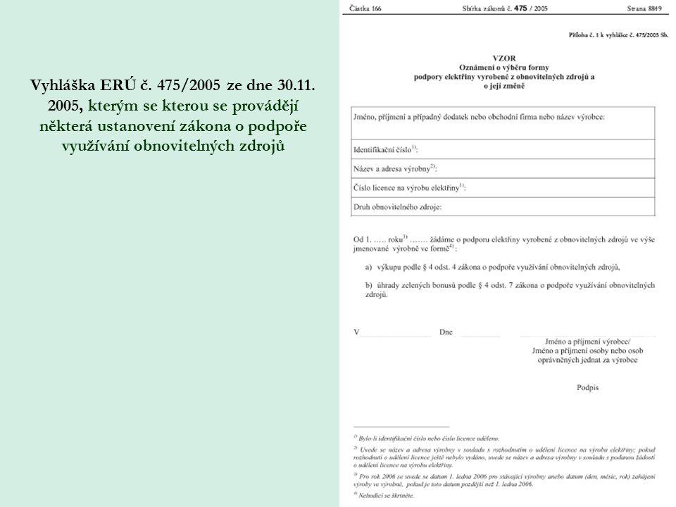 Vyhláška ERÚ č. 475/2005 ze dne 30.11. 2005, kterým se kterou se provádějí některá ustanovení zákona o podpoře využívání obnovitelných zdrojů