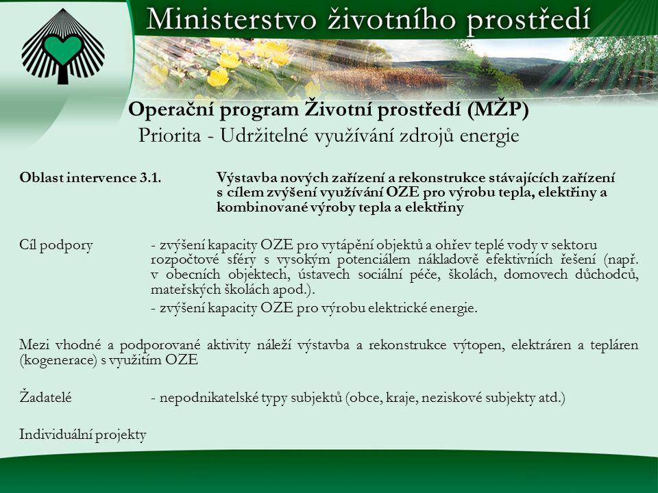 Operační program Životní prostředí (MŽP) Priorita - Udržitelné využívání zdrojů energie Oblast intervence 3.1.Výstavba nových zařízení a rekonstrukce