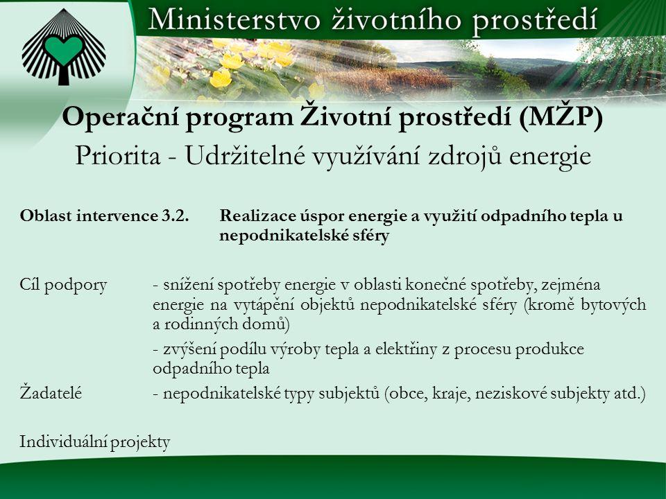 Operační program Životní prostředí (MŽP) Priorita - Udržitelné využívání zdrojů energie Oblast intervence 3.2.Realizace úspor energie a využití odpadn