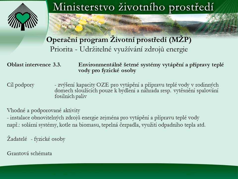Operační program Životní prostředí (MŽP) Priorita - Udržitelné využívání zdrojů energie Oblast intervence 3.3.Environmentálně šetrné systémy vytápění