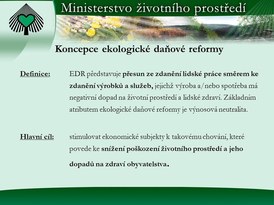Koncepce ekologické daňové reformy Definice:EDR představuje přesun ze zdanění lidské práce směrem ke zdanění výrobků a služeb, jejichž výroba a/nebo s