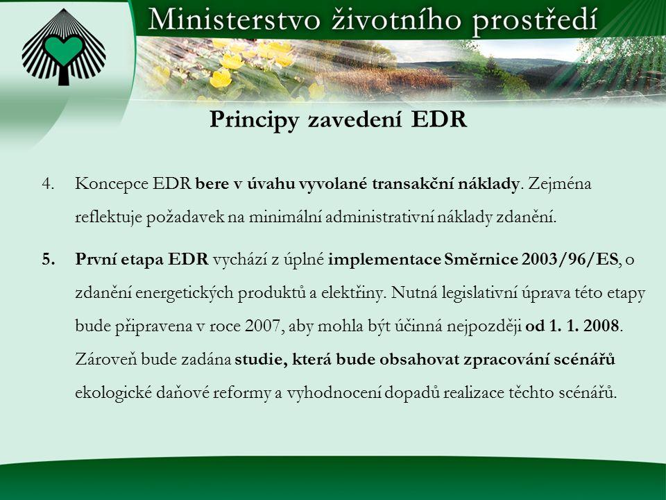 Principy zavedení EDR 4.Koncepce EDR bere v úvahu vyvolané transakční náklady. Zejména reflektuje požadavek na minimální administrativní náklady zdaně