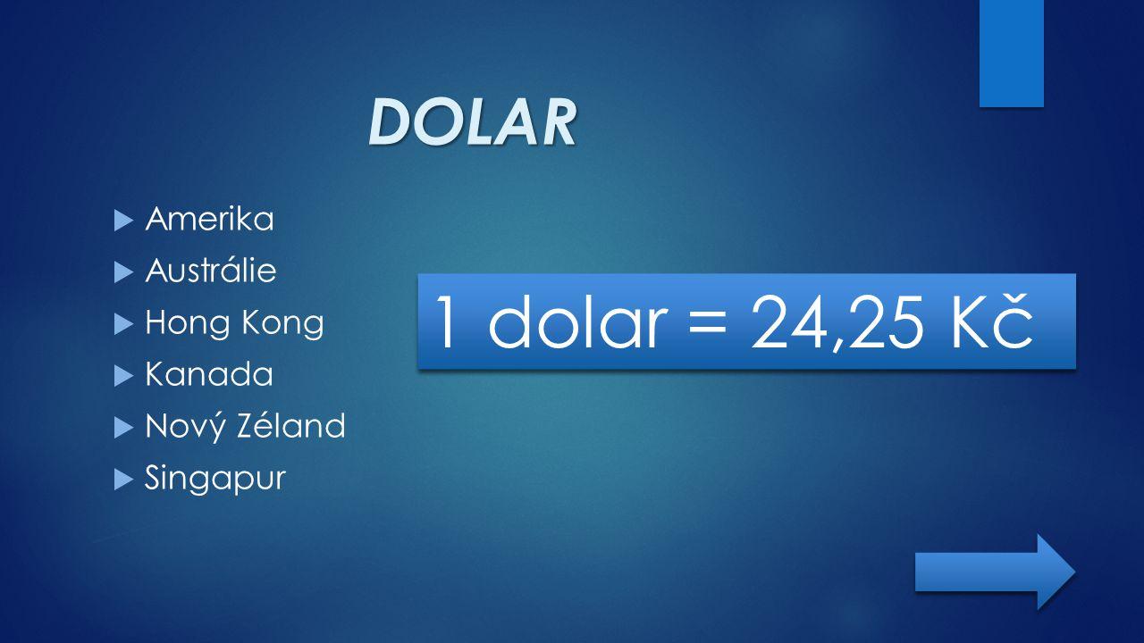 DOLAR  Amerika  Austrálie  Hong Kong  Kanada  Nový Zéland  Singapur 1 dolar = 24,25 Kč