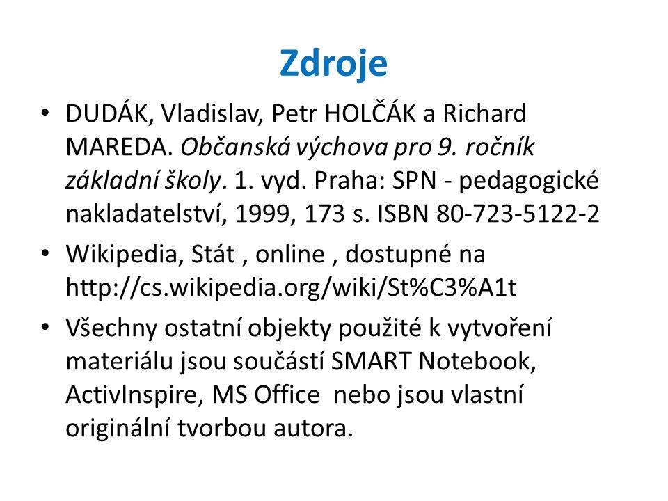 Zdroje DUDÁK, Vladislav, Petr HOLČÁK a Richard MAREDA.