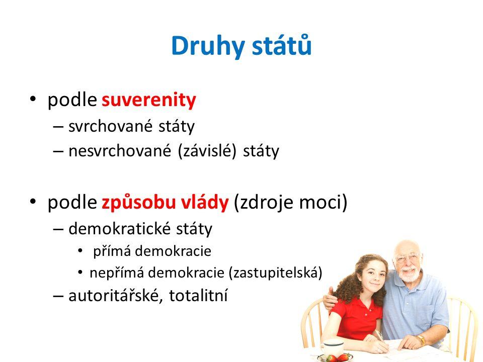 Druhy států podle suverenity – svrchované státy – nesvrchované (závislé) státy podle způsobu vlády (zdroje moci) – demokratické státy přímá demokracie nepřímá demokracie (zastupitelská) – autoritářské, totalitní