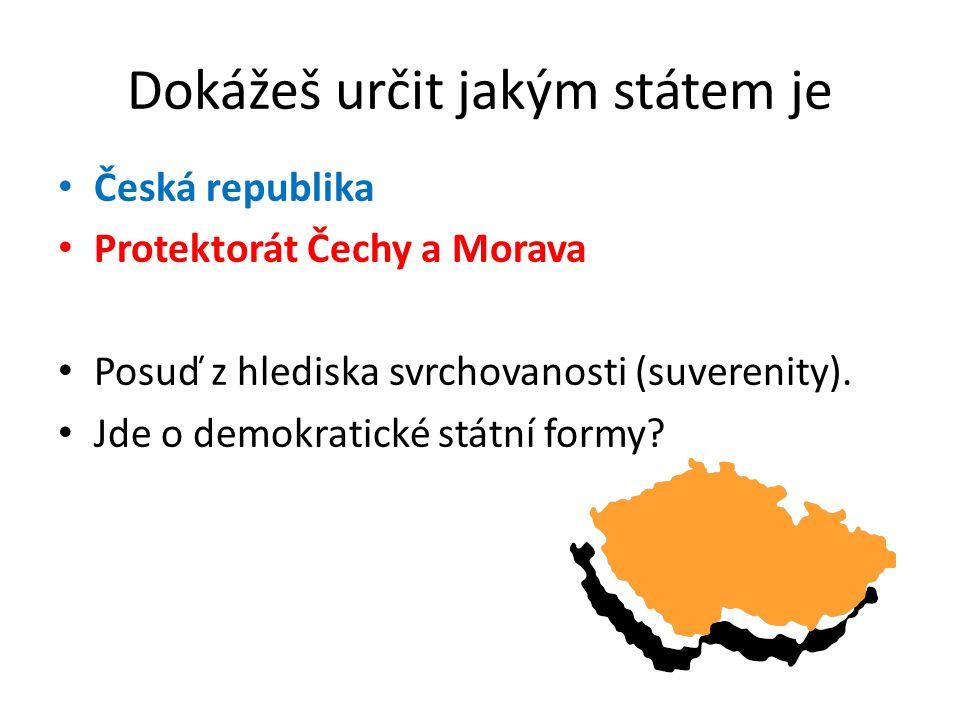 Dokážeš určit jakým státem je Česká republika Protektorát Čechy a Morava Posuď z hlediska svrchovanosti (suverenity).