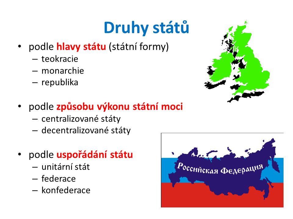 Druhy států podle hlavy státu (státní formy) – teokracie – monarchie – republika podle způsobu výkonu státní moci – centralizované státy – decentralizované státy podle uspořádání státu – unitární stát – federace – konfederace