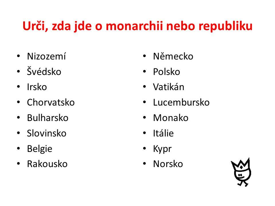 Urči, zda jde o monarchii nebo republiku Nizozemí Švédsko Irsko Chorvatsko Bulharsko Slovinsko Belgie Rakousko Německo Polsko Vatikán Lucembursko Monako Itálie Kypr Norsko