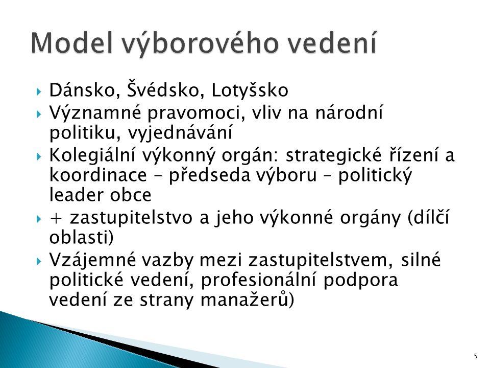 5  Dánsko, Švédsko, Lotyšsko  Významné pravomoci, vliv na národní politiku, vyjednávání  Kolegiální výkonný orgán: strategické řízení a koordinace