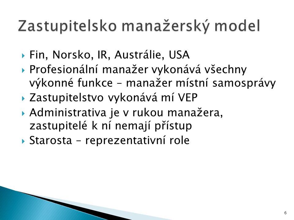 6  Fin, Norsko, IR, Austrálie, USA  Profesionální manažer vykonává všechny výkonné funkce – manažer místní samosprávy  Zastupitelstvo vykonává mí VEP  Administrativa je v rukou manažera, zastupitelé k ní nemají přístup  Starosta – reprezentativní role