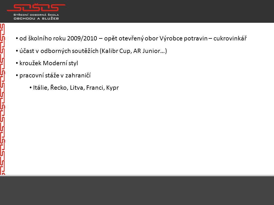 od školního roku 2009/2010 – opět otevřený obor Výrobce potravin – cukrovinkář účast v odborných soutěžích (Kalibr Cup, AR Junior…) kroužek Moderní styl pracovní stáže v zahraničí Itálie, Řecko, Litva, Franci, Kypr