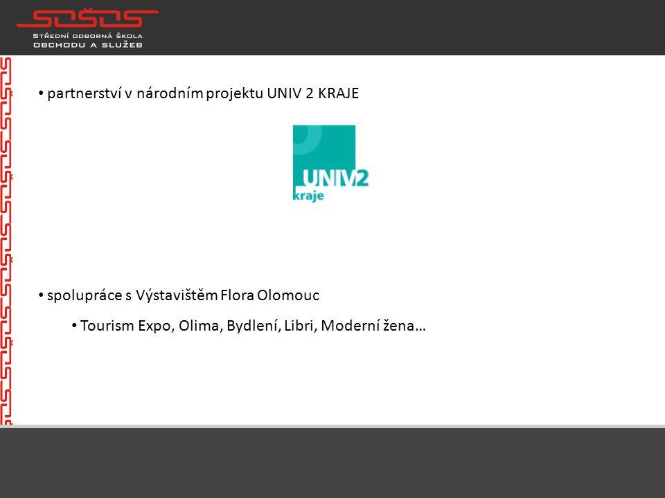 partnerství v národním projektu UNIV 2 KRAJE spolupráce s Výstavištěm Flora Olomouc Tourism Expo, Olima, Bydlení, Libri, Moderní žena…