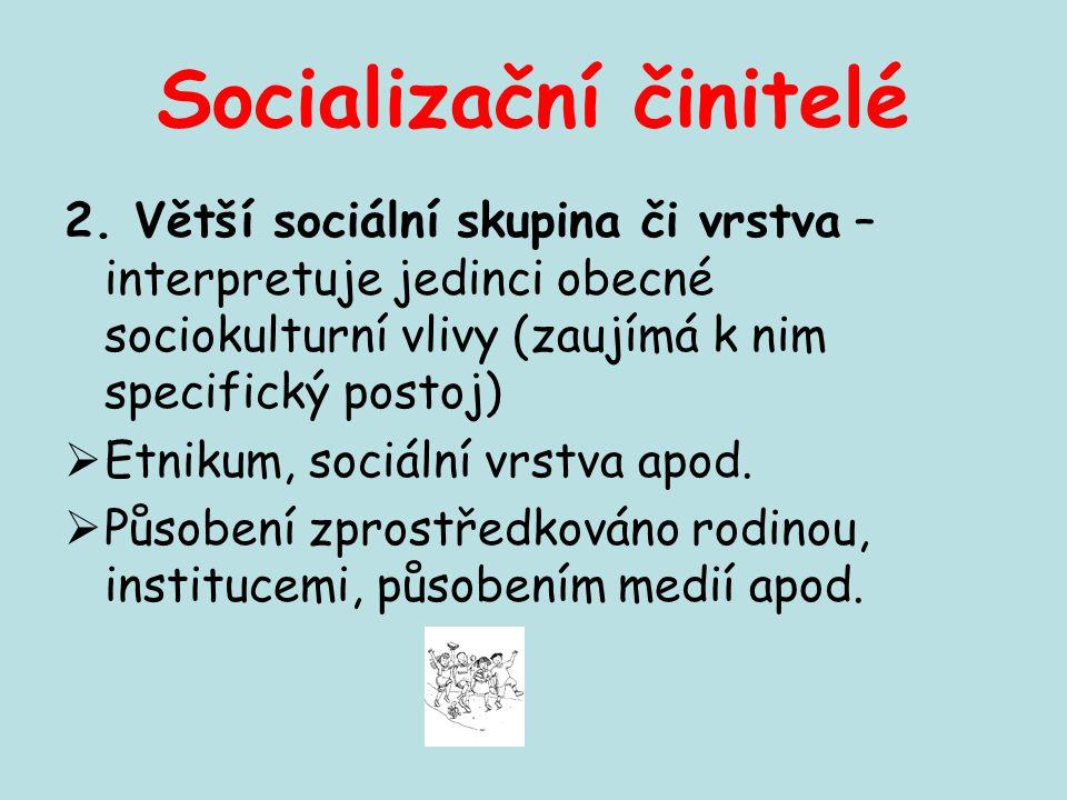 Socializační činitelé 2. Větší sociální skupina či vrstva – interpretuje jedinci obecné sociokulturní vlivy (zaujímá k nim specifický postoj)  Etniku