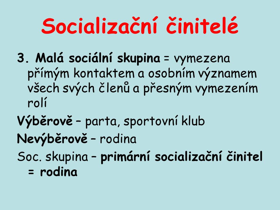 Socializační činitelé 3. Malá sociální skupina = vymezena přímým kontaktem a osobním významem všech svých členů a přesným vymezením rolí Výběrově – pa