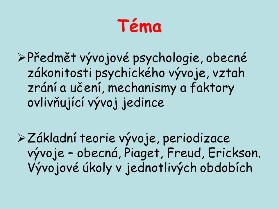 Téma  Předmět vývojové psychologie, obecné zákonitosti psychického vývoje, vztah zrání a učení, mechanismy a faktory ovlivňující vývoj jedince  Zákl