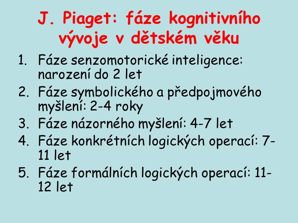J. Piaget: fáze kognitivního vývoje v dětském věku 1.Fáze senzomotorické inteligence: narození do 2 let 2.Fáze symbolického a předpojmového myšlení: 2