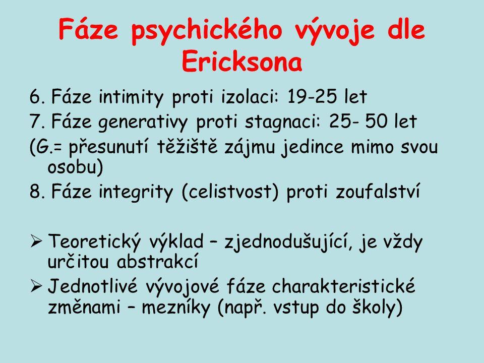 Fáze psychického vývoje dle Ericksona 6. Fáze intimity proti izolaci: 19-25 let 7. Fáze generativy proti stagnaci: 25- 50 let (G.= přesunutí těžiště z