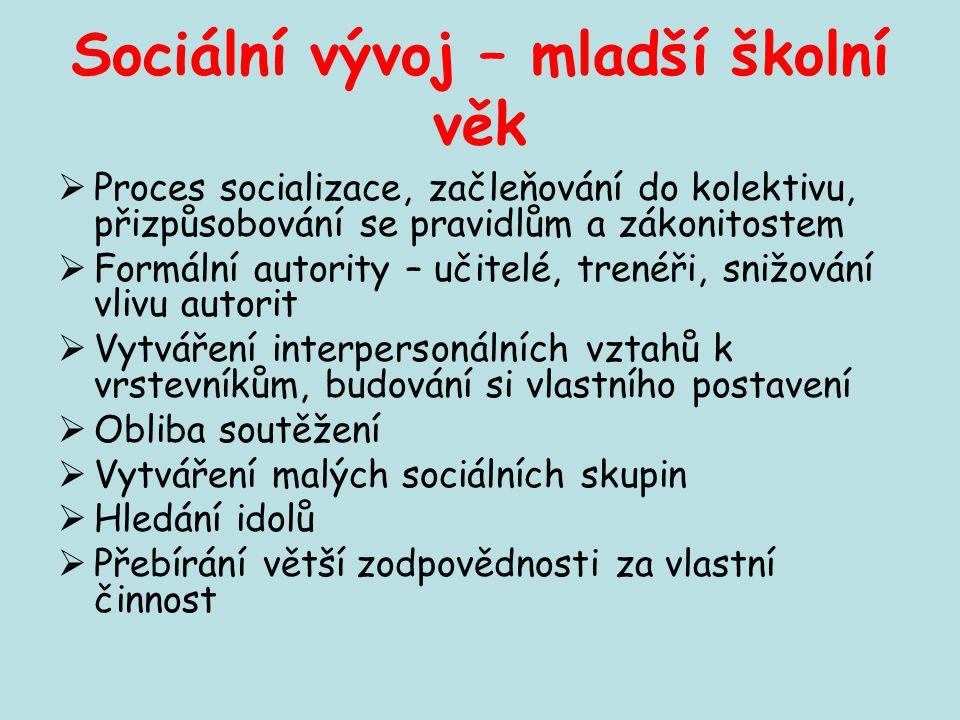 Sociální vývoj – mladší školní věk  Proces socializace, začleňování do kolektivu, přizpůsobování se pravidlům a zákonitostem  Formální autority – uč