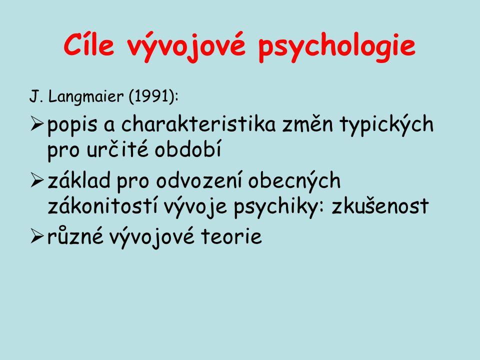 Cíle vývojové psychologie J. Langmaier (1991):  popis a charakteristika změn typických pro určité období  základ pro odvození obecných zákonitostí v