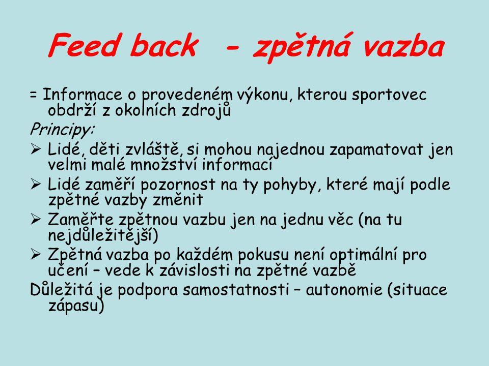 Feed back - zpětná vazba = Informace o provedeném výkonu, kterou sportovec obdrží z okolních zdrojů Principy:  Lidé, děti zvláště, si mohou najednou