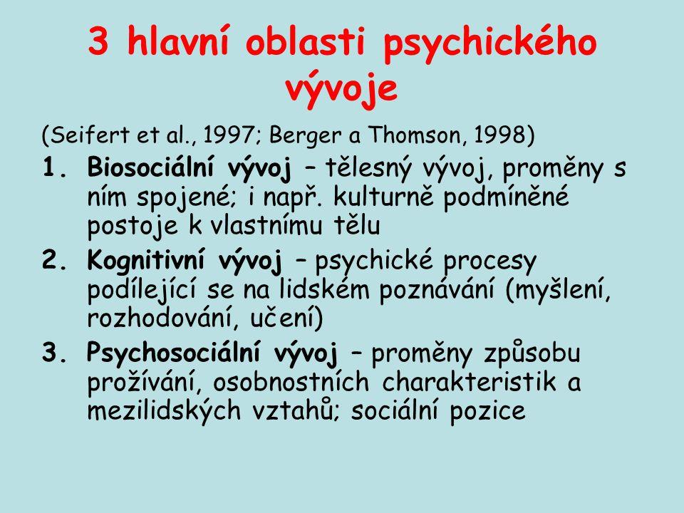 3 hlavní oblasti psychického vývoje (Seifert et al., 1997; Berger a Thomson, 1998) 1.Biosociální vývoj – tělesný vývoj, proměny s ním spojené; i např.