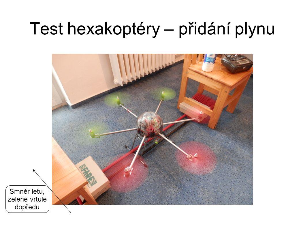 Test hexakoptéry – přidání plynu Smněr letu, zelené vrtule dopředu