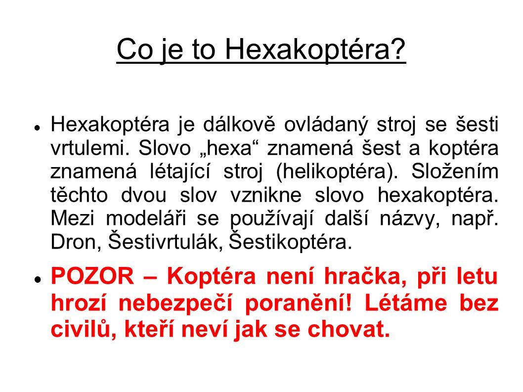 """Co je to Hexakoptéra? Hexakoptéra je dálkově ovládaný stroj se šesti vrtulemi. Slovo """"hexa"""" znamená šest a koptéra znamená létající stroj (helikoptéra"""