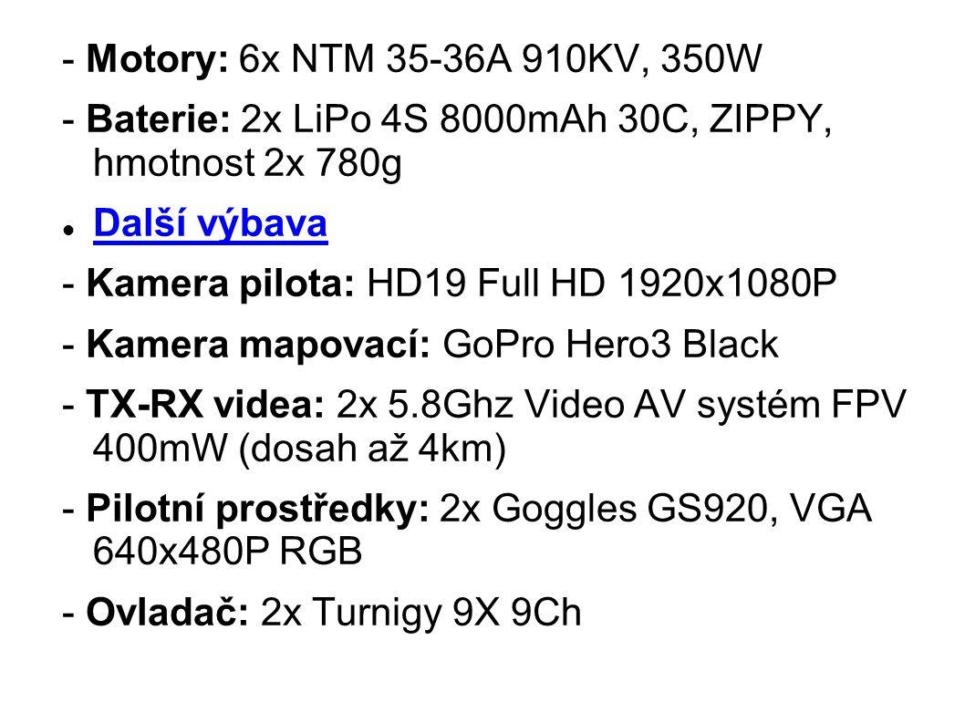 - Motory: 6x NTM 35-36A 910KV, 350W - Baterie: 2x LiPo 4S 8000mAh 30C, ZIPPY, hmotnost 2x 780g Další výbava - Kamera pilota: HD19 Full HD 1920x1080P -