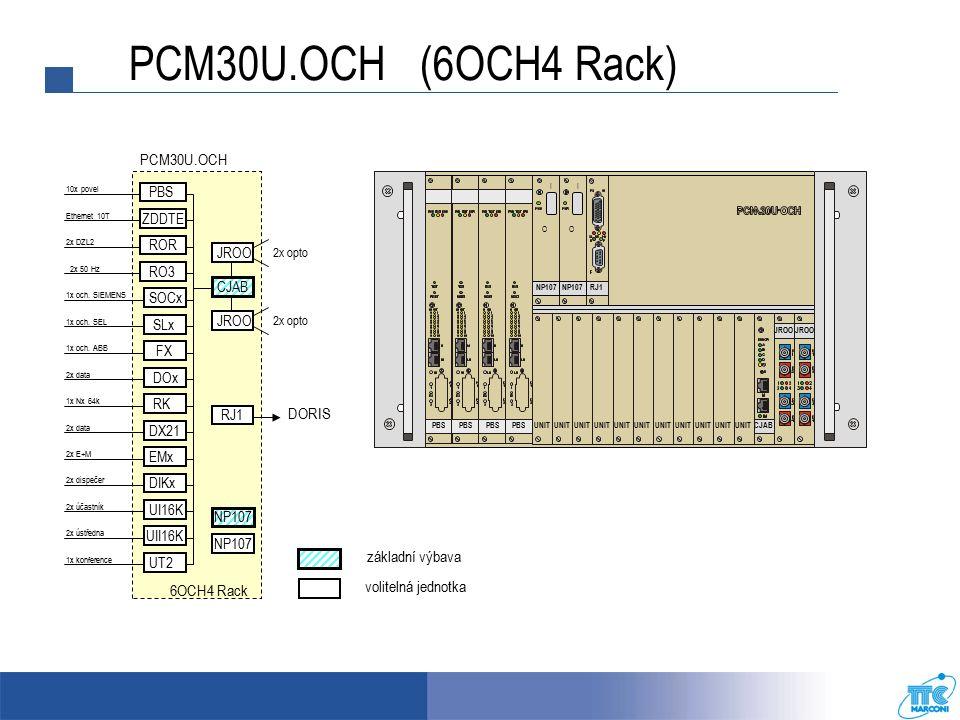 RJ1 NP107 I O I O CJABUNIT JROO UNIT PBS UNIT PCM30U.OCH (6OCH4 Rack) základní výbava volitelná jednotka PCM30U.OCH 10x povel 2x DZL2 2x 50 Hz 1x Nx 64k PBS 6OCH4 Rack Ethernet 10T ZDDTE ROR RO3 SOCx 1x och.