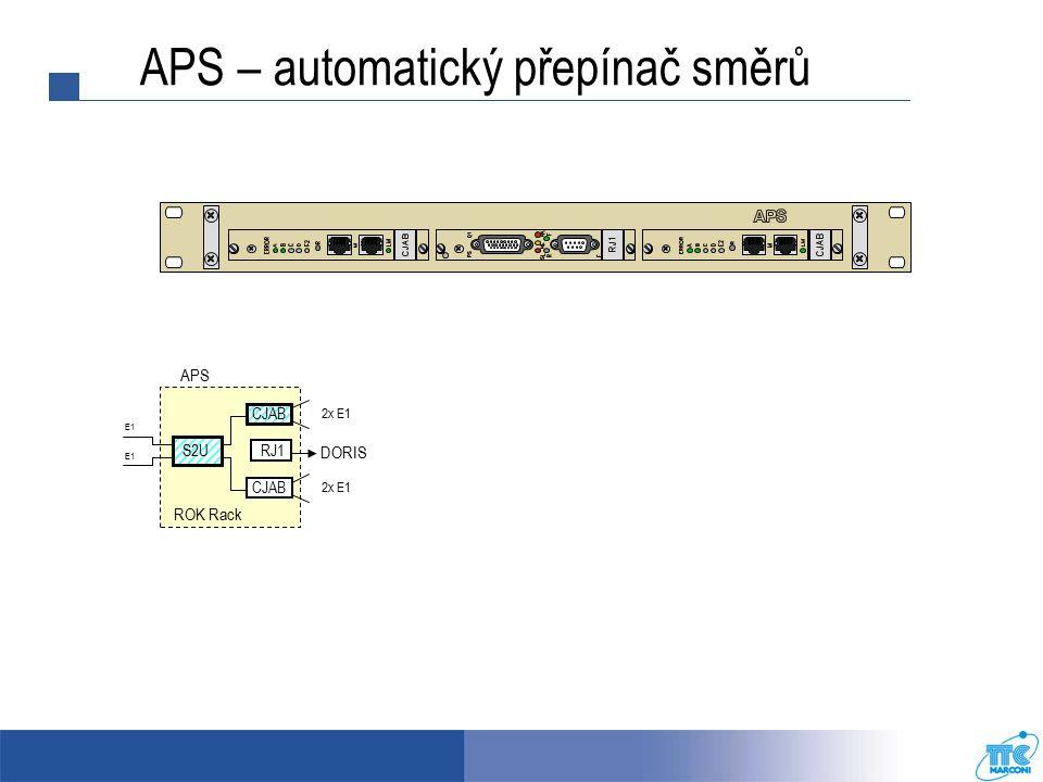 APS ROK Rack CJAB RJ1 DORIS S2U E1 2x E1 CJAB E1 2x E1 APS – automatický přepínač směrů