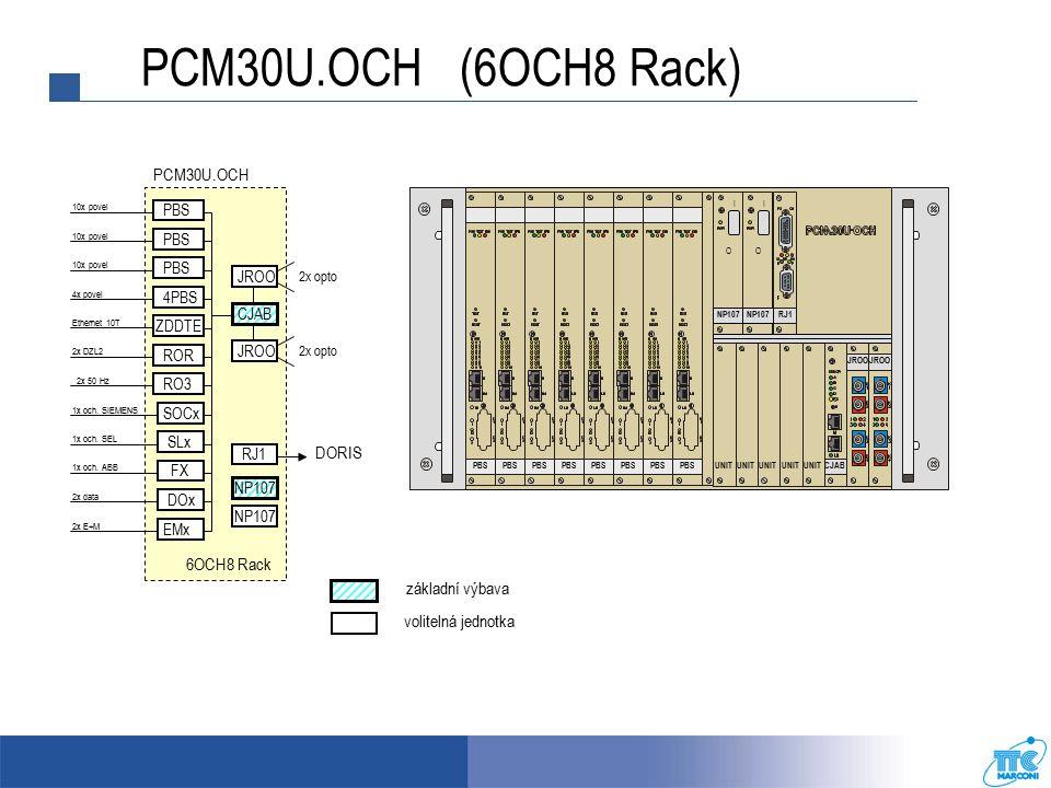 RJ1 NP107 I O I O CJABUNIT JROO UNIT PBS PCM30U.OCH (6OCH8 Rack) PCM30U.OCH 10x povel PBS 6OCH8 Rack 2x DZL2 2x 50 Hz Ethernet 10T ZDDTE ROR RO3 SOCx 1x och.