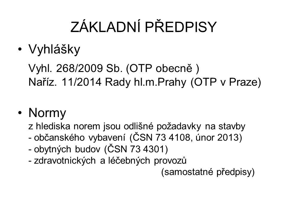 ZÁKLADNÍ PŘEDPISY Vyhlášky Vyhl. 268/2009 Sb. (OTP obecně ) Naříz. 11/2014 Rady hl.m.Prahy (OTP v Praze) Normy z hlediska norem jsou odlišné požadavky