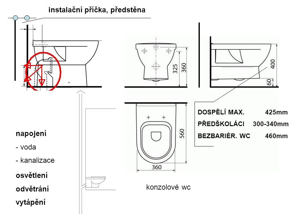 napojení - voda - kanalizace konzolové wc osvětlení odvětrání vytápění DOSPĚLÍ MAX. 425mm PŘEDŠKOLÁCI 300-340mm BEZBARIÉR. WC 460mm instalační příčka,
