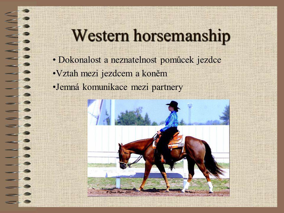 Western pleasure skupina koní s jezdci vjede do arény všichni koně dohromady dle pokynů rozhodčího se pohybují po obvodu arény postupně v obou směrech