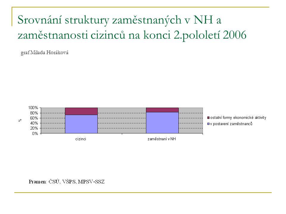 Srovnání struktury zaměstnaných v NH a zaměstnanosti cizinců na konci 2.pololetí 2006 graf Milada Horáková